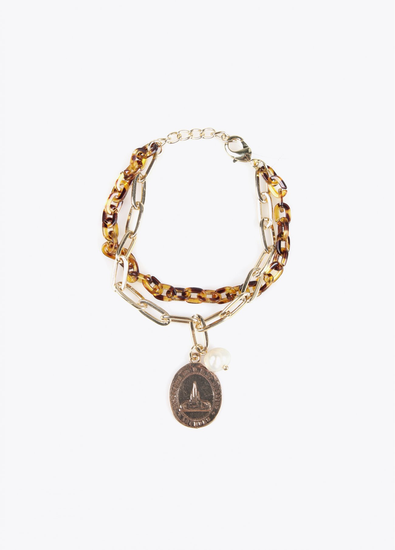 Chain bracelet with resin and coin penda