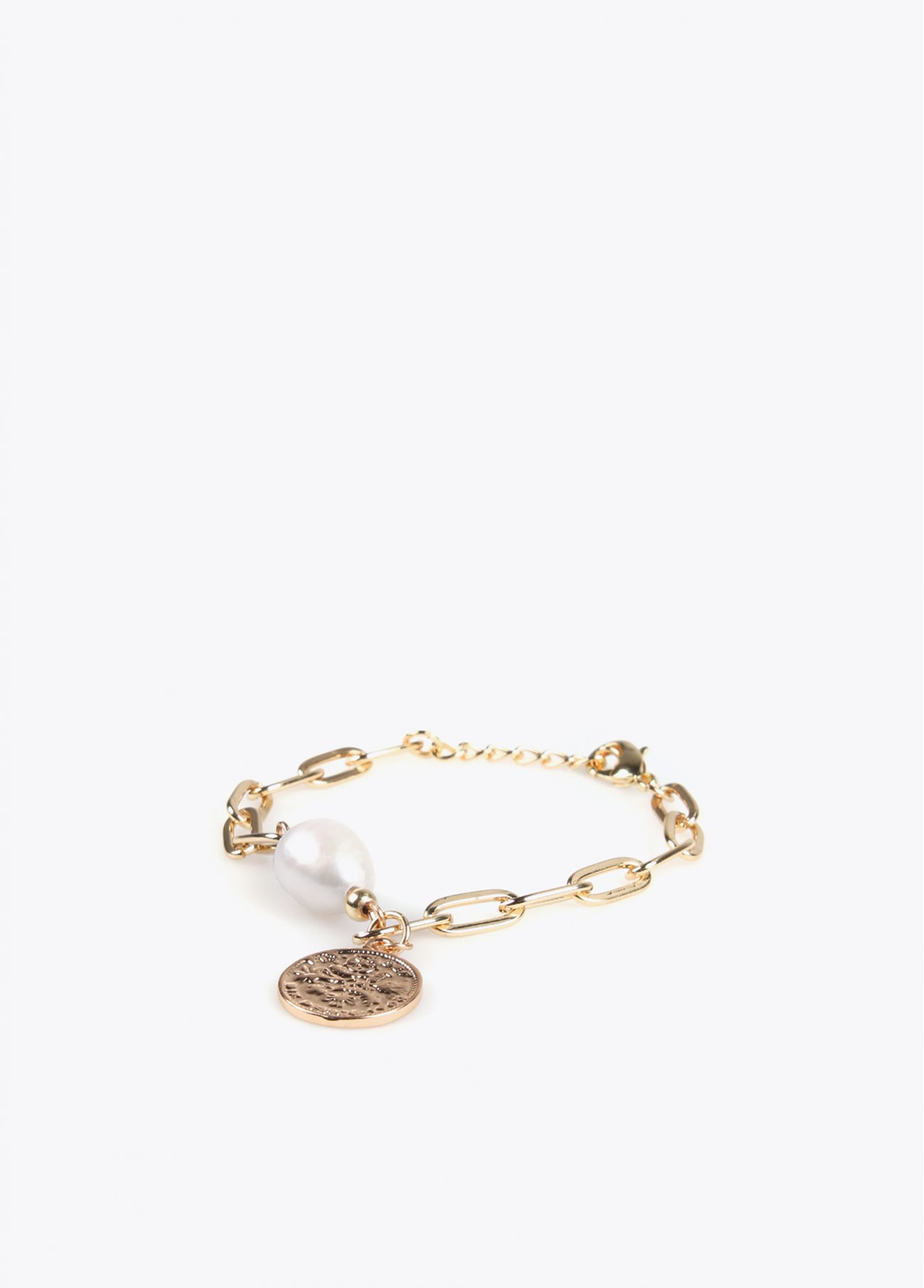 Golden bracelet with coin and faux pearl