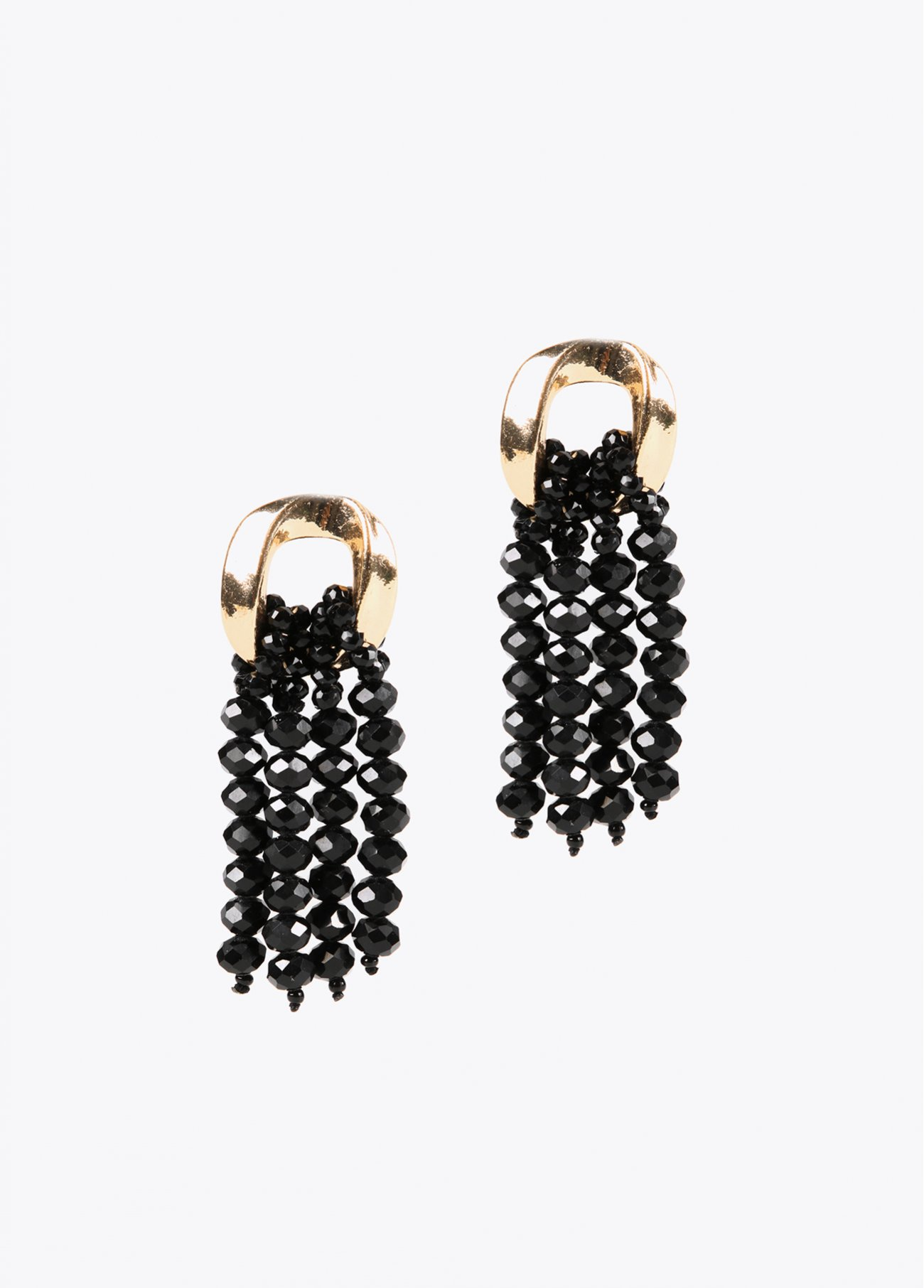 Cascade earrings with black faceted ston