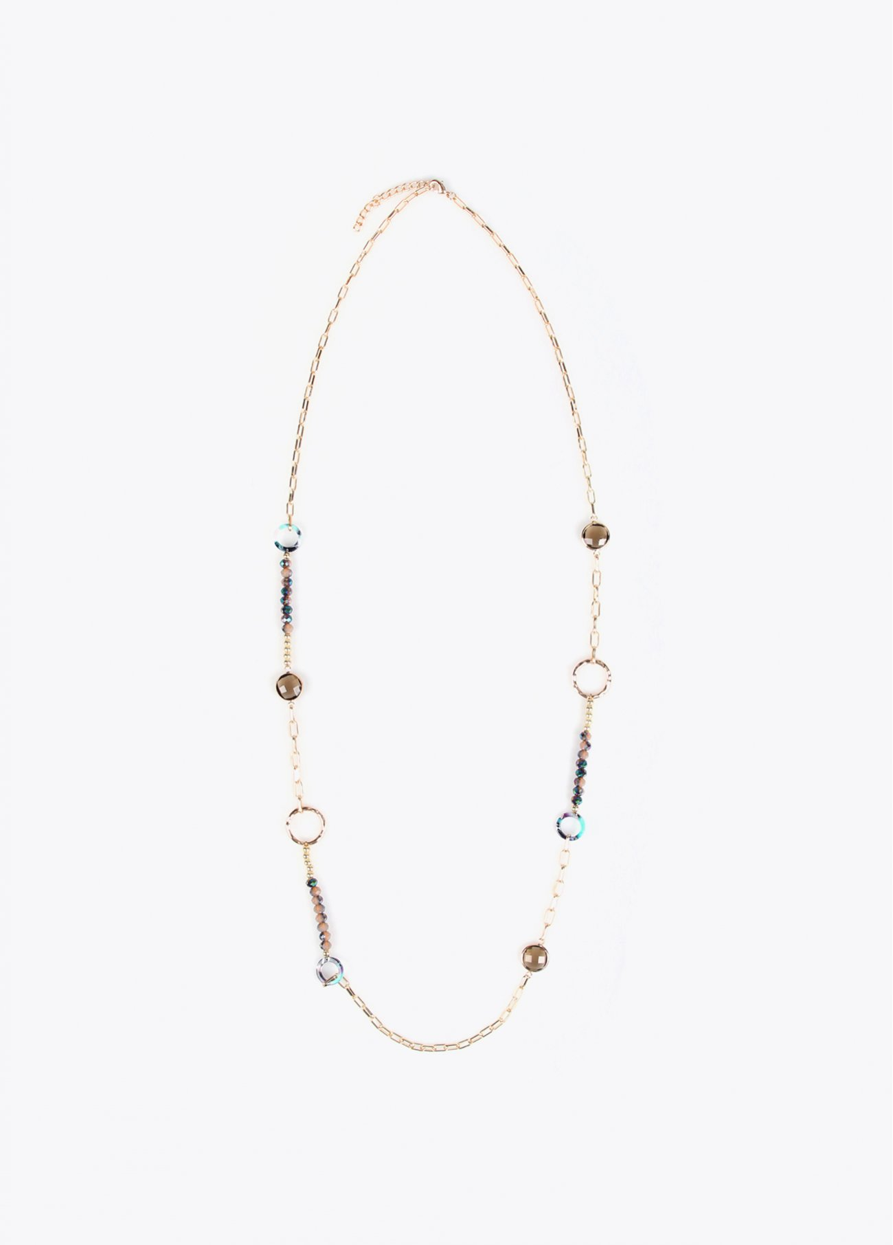 Long necklace with faceted stones
