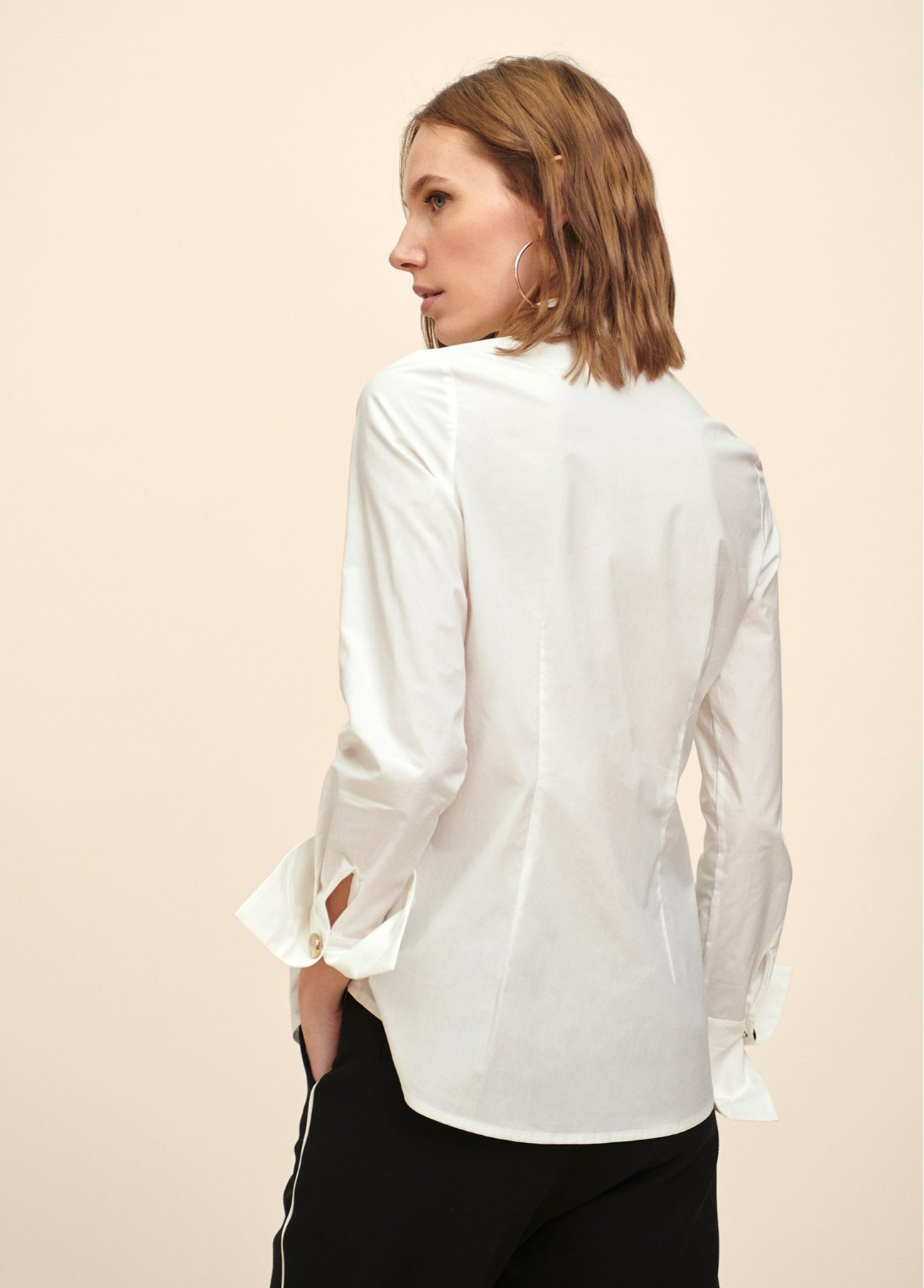 Popelin blouse with jewllery buttons