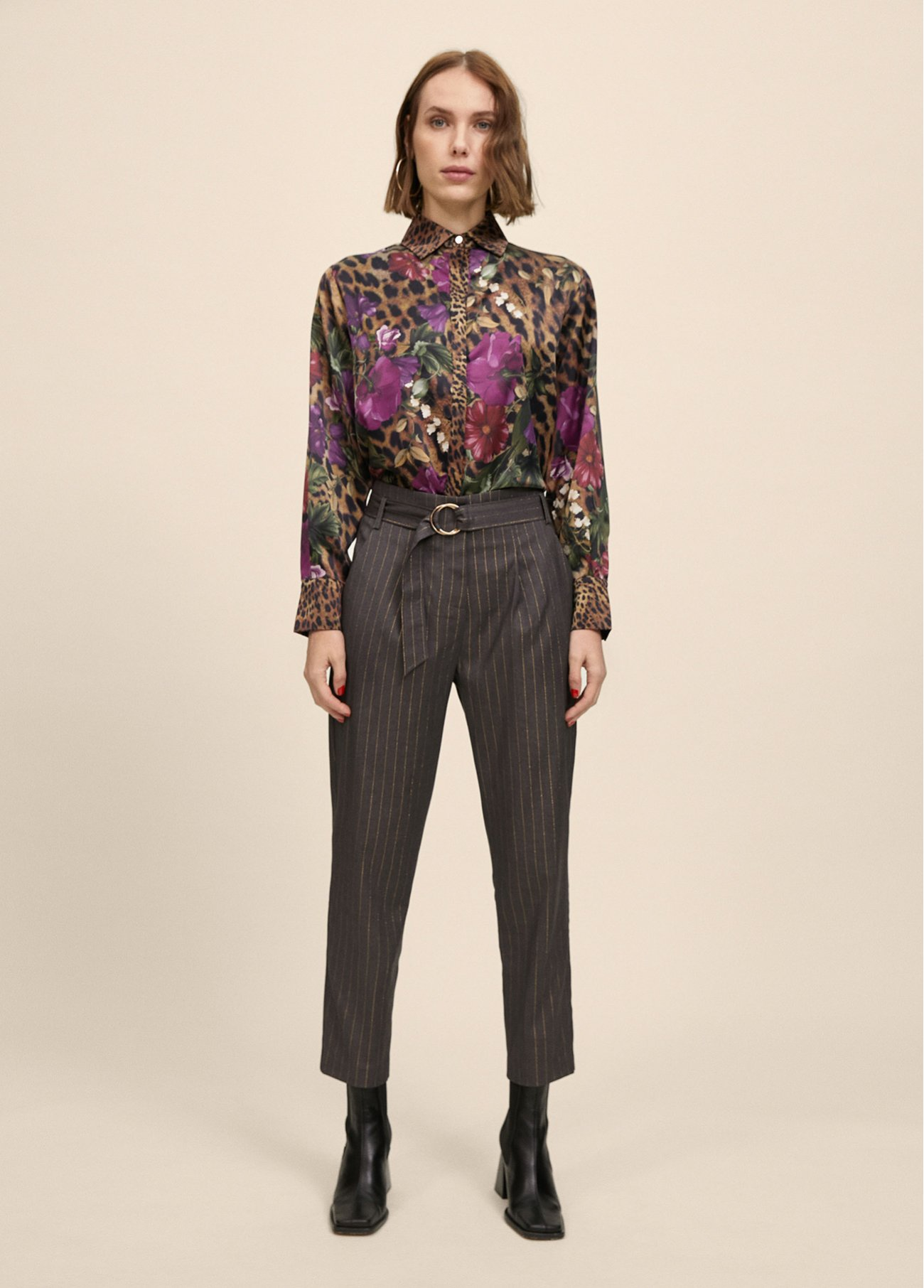 Stripy pant with buckle